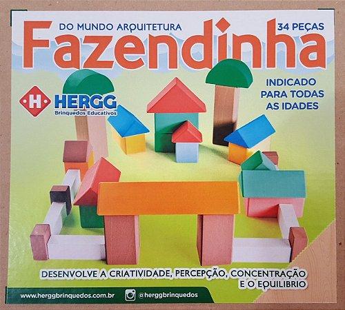 Blocos Fazendinha de madeira-Multicolorido-Hergg