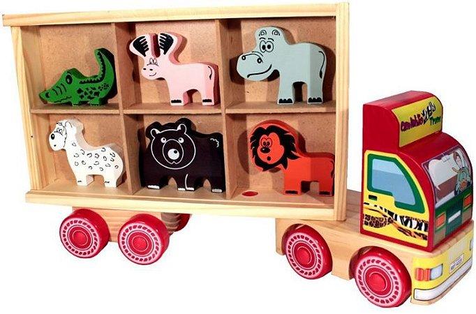 Caminhão-Zootrans-com animais- madeira-Multicolorido-Carimbras