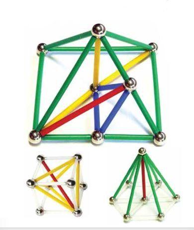 Magstix kit geometria 81 peças colorido
