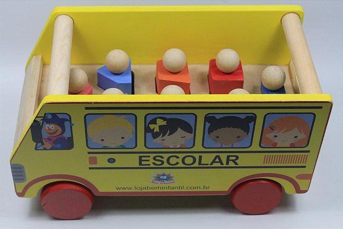 Bus Formas de Madeira-Multicolorido-Bem Infantil