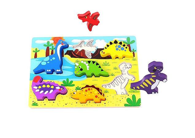 Tabuleiro Para Encaixe - Dinossauro -Madeira-Tooky Toy