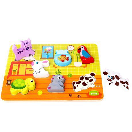 Tabuleiro para encaixe- Animais -Madeira-Tooky Toy