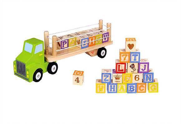Caminhão Alfabeto e Números-Madeira-Multicolorido-Tooky Toy