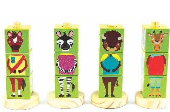 Jogo de Encaixe – Cubos Animais Verde – Brinquedos de Madeira – New Art