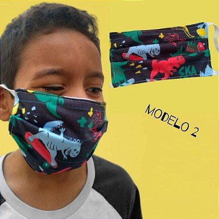 Mascara De Proteção Tecido Duplo - Modelo 2 - Dinossauros