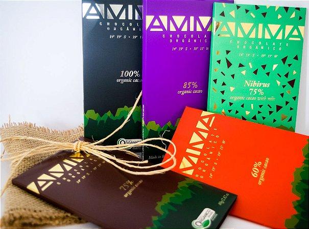 Kit com 4 chocolates orgânicos Amma Intensos 80g