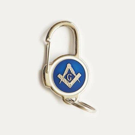 Chaveiro Mosquetão Esquadro e Compasso Azul