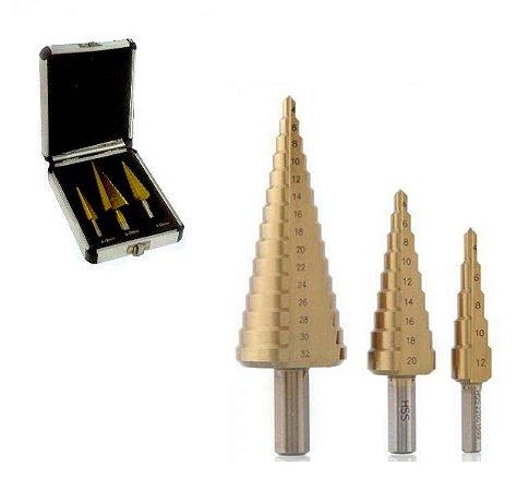 Broca Escalonada 4-12mm, 4-20mm, 6-30m com Estojo CTPOHR