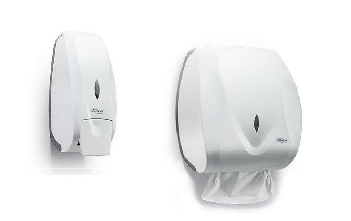 Kit Dispenser Saboneteira + Papel Toalha Interfolhas Velox Premisse