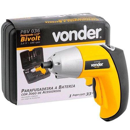 """Parafusadeira a Bateria 3,6 V - 1/4"""" Vonder"""