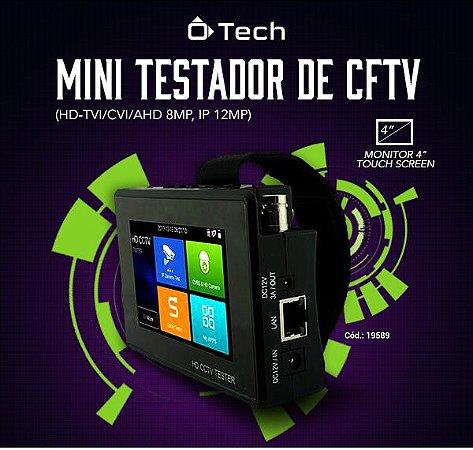 Mini Testador de CFTV (HD-TVI/CVI/AHD 8mp, Ip 12mp) Otech