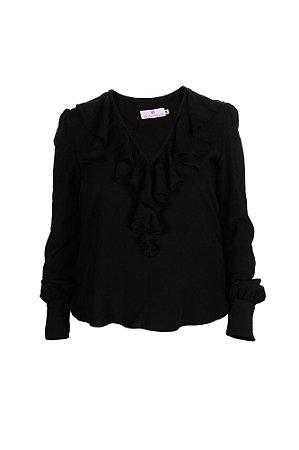 Blusa feminina com jabour – Preta