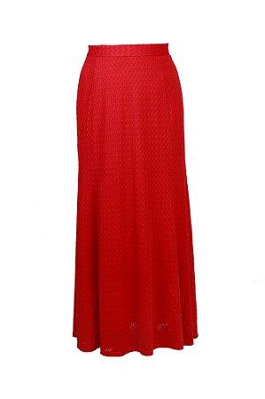 Saia longa em renda malha tricot - Vermelho