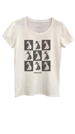 Camiseta Prendada Pop estampa em preto - Offwhite