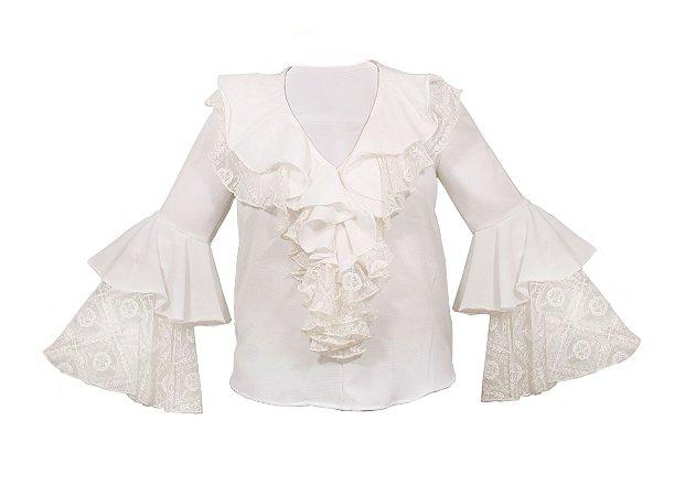 Blusa jabô com renda - Offwhite