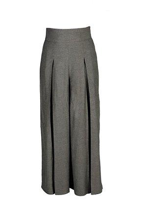 Calça pantalona com pregas  - Alfaiataria listras