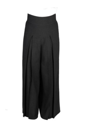 Calça pantalona com pregas  - Alfaiataria mini pied de poule