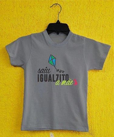 Camiseta Infantil Dia das Mães - Pipa Azul - Cinza Mescla