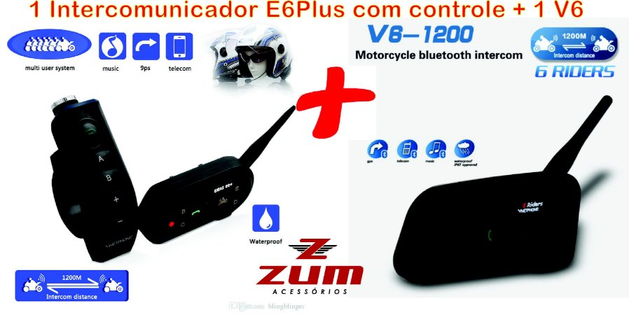 Kit com 1 E6 Plus com Controle + 1 Intercomunicador V6