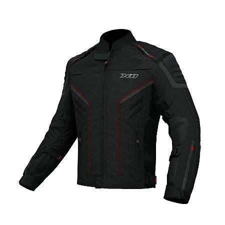 Jaqueta Motociclista X11 Iron 2 Preta Detalhes Vermelhos