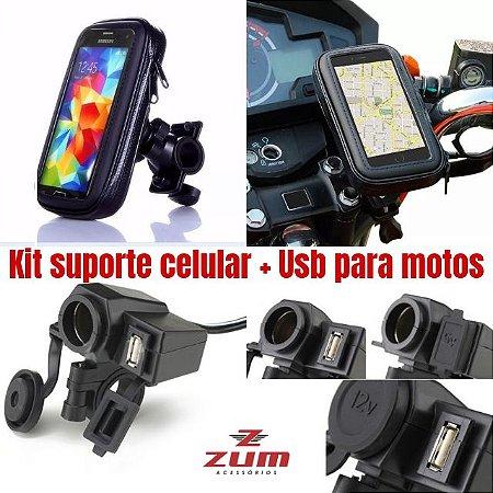 Kit Com Suporte De Celular + Adaptador 12v-5v Usb Para Moto