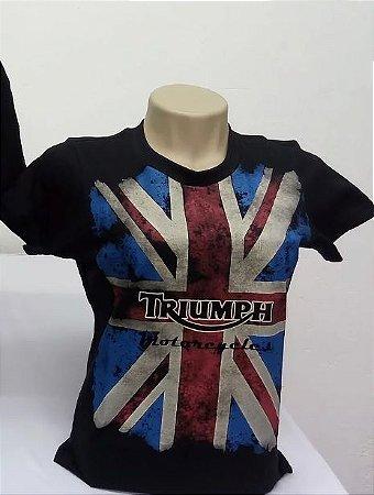 Camiseta Feminina Preta Triumph Bandeira