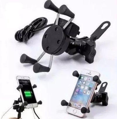 Suporte De Celular Com Carregador USB Para Moto