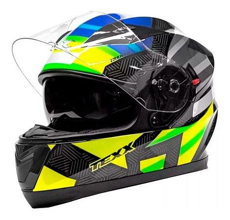 Capacete Texx G2 Trento Óculos Interno Verde Amarelo