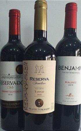 Kit de vinhos Tintos 3 unid. R$ 109,90 reais. vários países - várias uvas