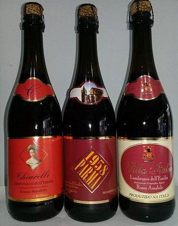 Kit 04 - Lambruscos tintos Chiarelli,Parma e V.Itália R$ 59,70 reais   variado ou mesmo rótulo/avisar
