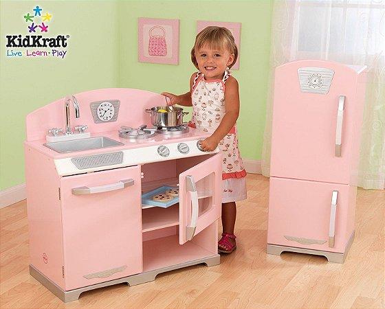 Cozinha Infantil Rosa Retro E Geladeira Kidkraft Luriabox