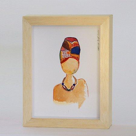 Quadro   Aquarela   Mulher com turbante
