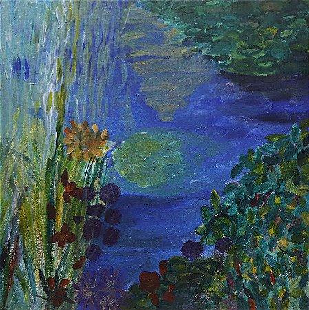 Quadro | Jardins de Monet | Fundo azul