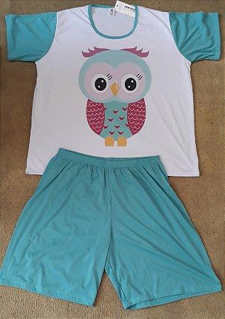 Pijama bermuda blusa com manga coruja verde 3233