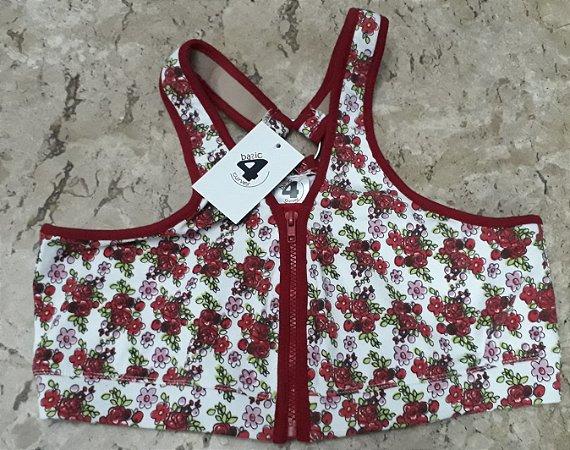 Top argola c/ziper flores vermelhas c/vermelho