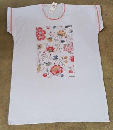 Camisetão floral salmão 3225