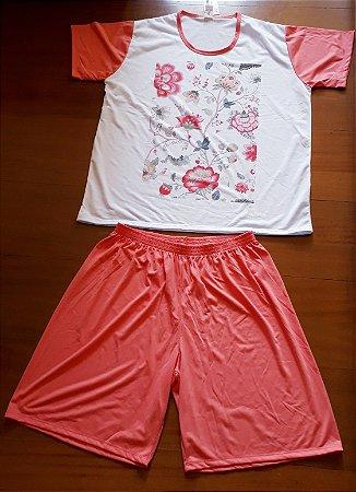 Pijama floral laranja 3223