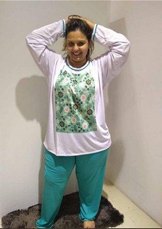 Pijama longo floral verde