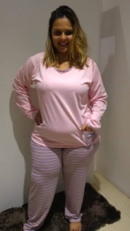 Pijama longo rosa bebê c/listras