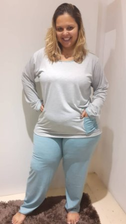 Pijama longo cinza mescla c/listras verdes