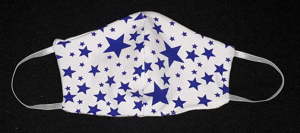 Máscara reutilizável estrela azul c/branco