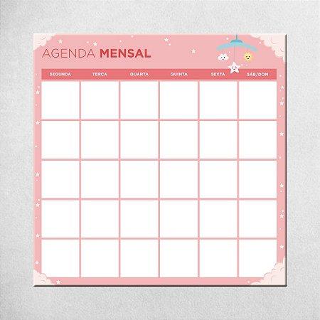 Agenda Mensal do Bebê - rosa - 45cm x 45cm