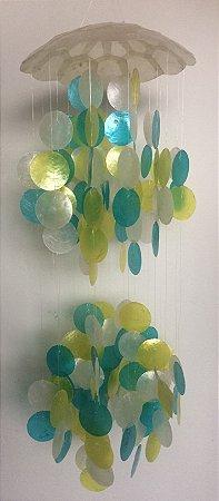 capiz top two balls w/ mix color white 25 cm - unid