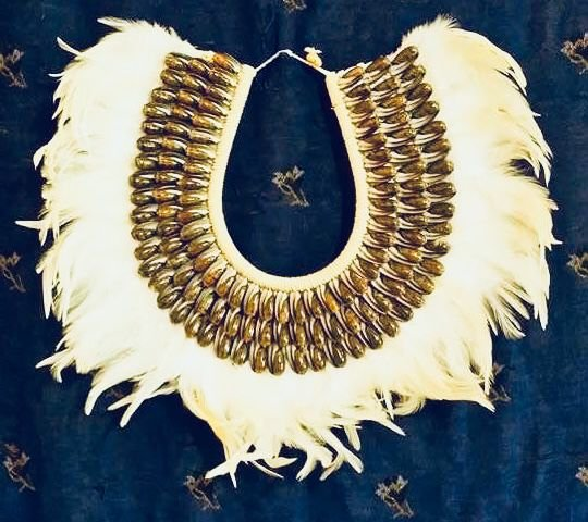 necklace mop feather olive b. - unid