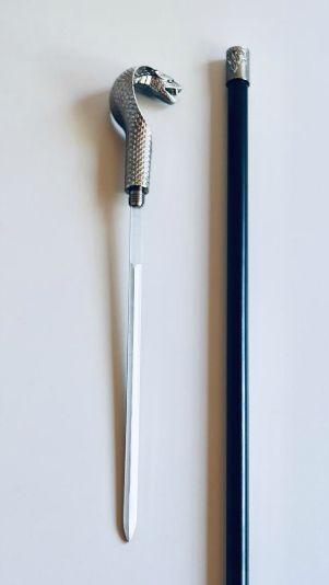 BENGALA DE COBRA PRATEADA 93cm