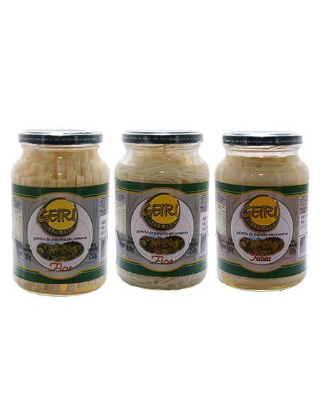 Palmito de Pupunha em conserva - Kit Sabores:Fios, fatias e espaguete - 15 unid x 300g