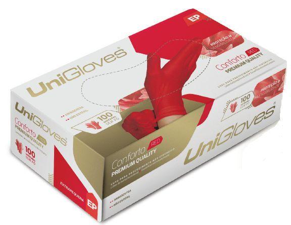 Caixa De Luva Látex Vermelha - 100 Unidades