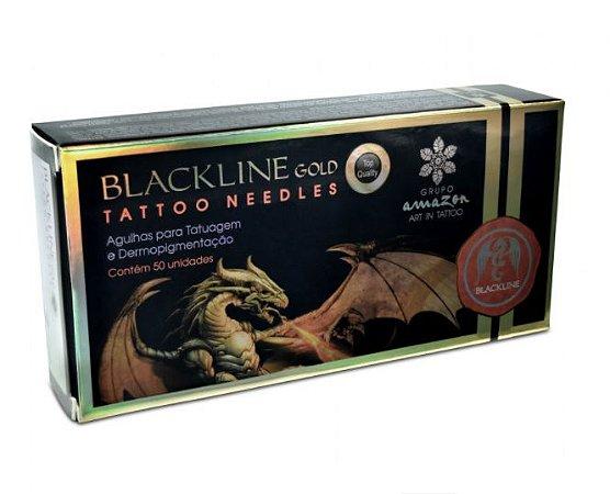 Caixa De Agulhas Black Line Gold - Traço - 50 Unidades
