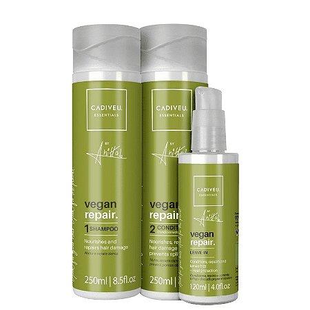 Kit Cadiveu Essentials Vegan Repair by Anitta - Shampoo, Condicionador e Leave-in