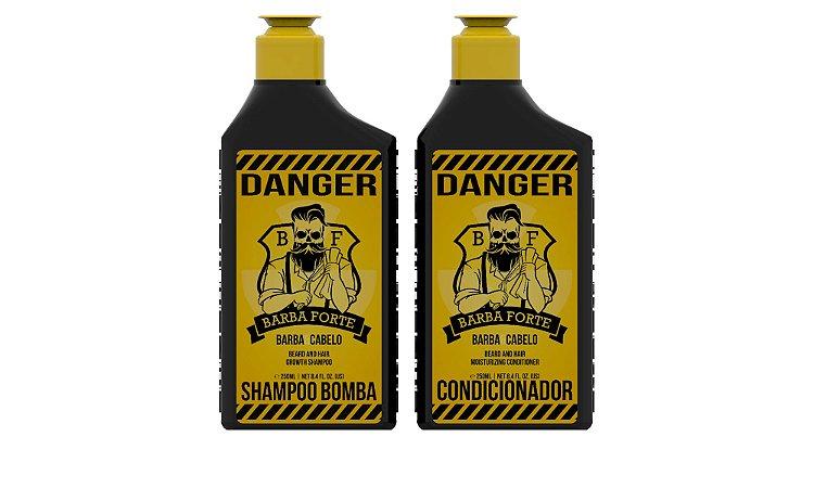 Kit Danger Shampoo Bomba e Condicionador Barba Forte (2 Produtos)